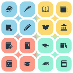 Vector Illustration Set Of Simple Reading Icons. Elements Encyclopedia, Pen, Journal And Other Synonyms Pencil, Literature And Writing.