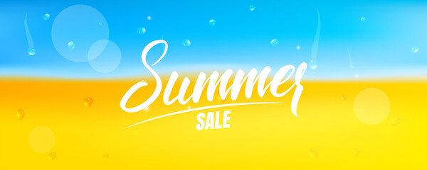 Summer sale banner . Banner with Summer calligraphy and beach with sand and ocean water