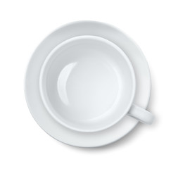 Top view of empty coffee  cup and saucer