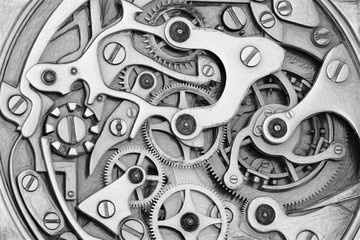 Clockwork 3D rendering machinery with gears grayscale scetch