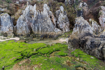 Formations geological on the coast near Cue. Asturias. Spain.