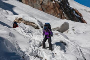 Trekkers crossing Cho La pass in Everest region, Nepal