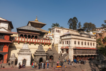 People pray in Pashupatinath temple in Kathmandu, Nepal