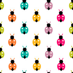 Vector seamless pattern with color ladybug