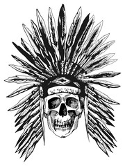 Skull in Native Americans headdress