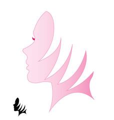 Woman face hair logo