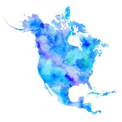 North America.World map.Watercolor hand drawn illustration.White background.