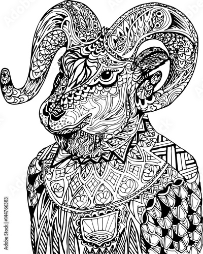 58dc6e776 Zentangle stylized cartoon goat. Coloring antistress. The coloring of a goat .