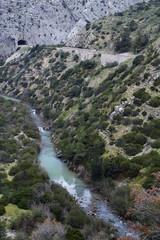 Fototapete - Guadalhorce river flowing through the protected area of Desfiladero de los Gaitanes