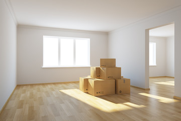 moving boxes at a new home