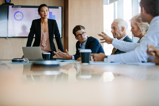 Diverse business group having a meeting in boardroom
