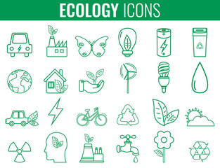 Ecology icons set. Icons for renewable energy, green technology. Hand drawn. Vector