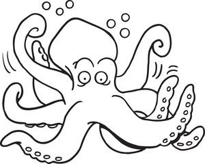 Black and white illustration of a octopus.