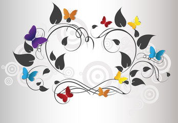 Abstract floral frame with butterflies