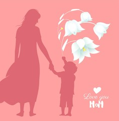 Happy Mother`s Day flyer, banner or poster, silhouette of a mother holding her child hand. Vector illustration