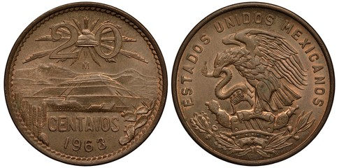 Mexico Mexican coin 20 twenty centavos 1963, Liberty cap with rays divides value, Pyramid of the Sun in Teotihuacan, cactuses at sides, Ixtaccihuatl and Popocatepetl in background, eagle on cactus cat