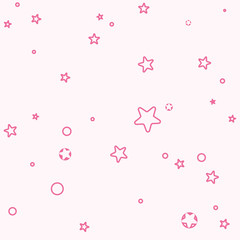 Simple seamless pattern of shape stars. Light pink background for girls.