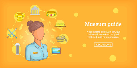 Museum banner horizontal guide, cartoon style