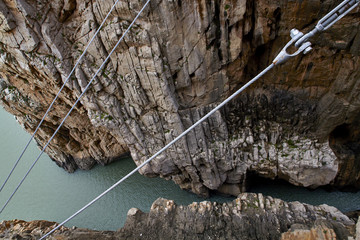 Fotomurales - Steel cables holding the suspension bridge of Caminito del Rey