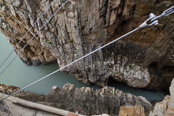 Fototapete - Suspension bridge, steel cables, Guadalhorce, Caminito del Rey