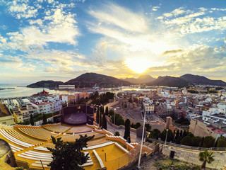 Aerial view of port city Cartagena in Spain