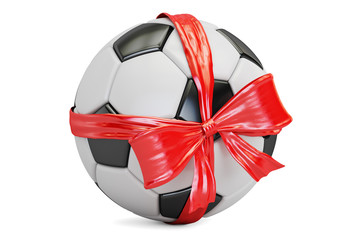 soccer ball with bow and ribbon closeup, gift concept. 3D rendering
