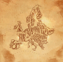 Map Europe vintage craft