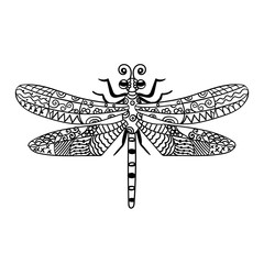 Hand drawn dragonfly in ornate zentangle style. Black and white vector illustration