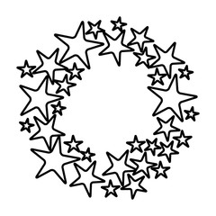 white background with black contour circle formed by stars vector illustration