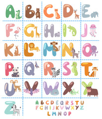 Cute zoo alphabet with cartoon animals isolated on white background and funny letters wildlife learn typography cute language vector illustration.