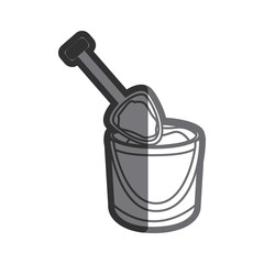gray thick contour of bucket sand and shovel vector illustration