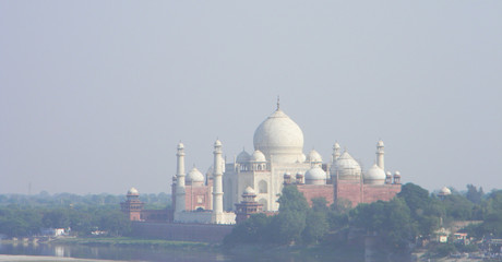 Iconic view of the Taj Mahal from Fort Agra, Northern India