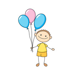 Cheerful boy with balloons in a hand-drawn style. Vector illustration.
