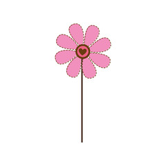 dotted colorful daisy flower with heart figure vector illustration