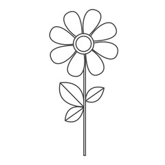 silhouette sketch daysi flower with leaves and stem vector illustration