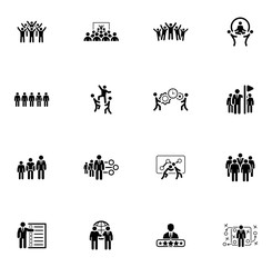 Flat Design Business Team Icons Set.