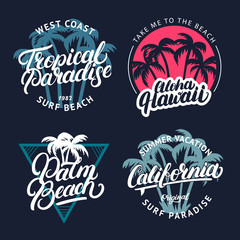 Set of Tropical paradise, Palm beach, Aloha Hawaii and California hand written lettering with palms.