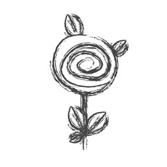 blurred silhouette sketch rose with leaves and stem vector illustration