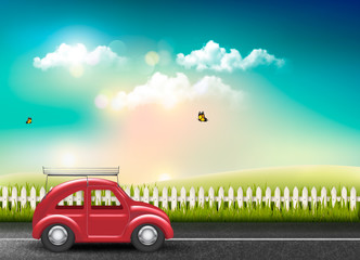 Countryside landscape with a road and a red car. Vector.