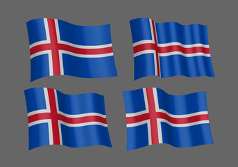 Waving flag of Iceland, vector