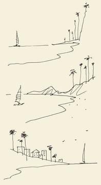 Set sketches seaside view beach vector sketch