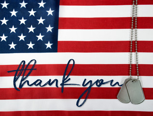 word thank you and military dog tags on American flag