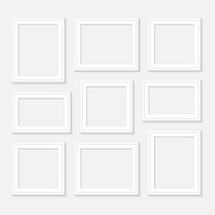 Frame template set for pictures and photos. Isolated vector.