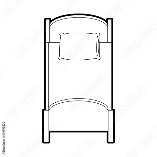 single bed top view. Single Bed Topview Icon Image Vector Illustration Design Top View