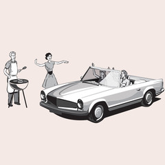 Vintage couple barbecues as a family drives by in a convertible car.