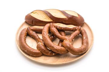 pretzel and plain laugan bread