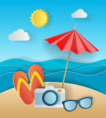 Illustration concept of summer holiday, flipflops on sandy beach, solar umbrella, camera and sea or ocean. Design by origami paper art and craft style