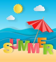 Illustration concept of summer holiday, solar umbrella on sandy beach, sea or ocean and colorful letters by origami paper art and craft style.