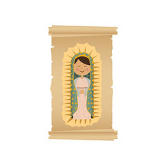 background with canvas of virgin of guadalupe vector illustration
