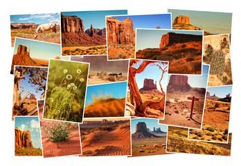 Collage pictures of Monument Valley, Arizona, USA
